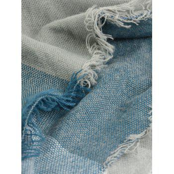 Fringe Brim Plaid Long Wrap Scarf - BLUE GRAY