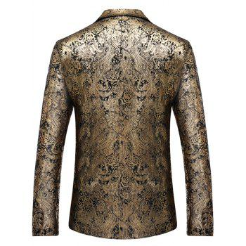 Paisley Pattern Single Breasted Gilding Blazer - GOLDEN XL