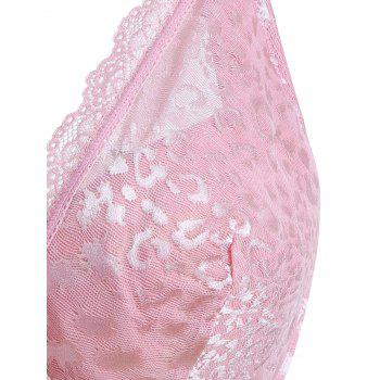 Floral Lace Insert Unlined Underwire Plus Size Bra - BABY PINK 7XL