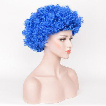Halloween Short Fluffy Curly Thing One Thing Two Cosplay Party Wig - BLUE