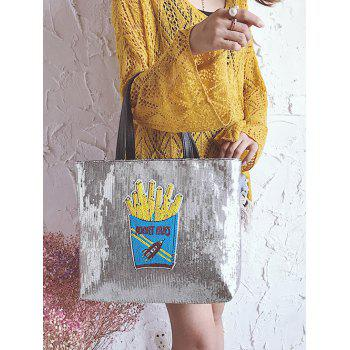 Chips Pattern Sequins Shoulder Bag -  BLUE