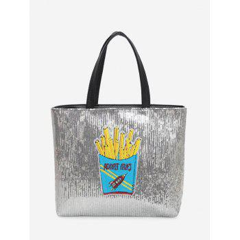 Chips Pattern Sequins Shoulder Bag - BLUE BLUE