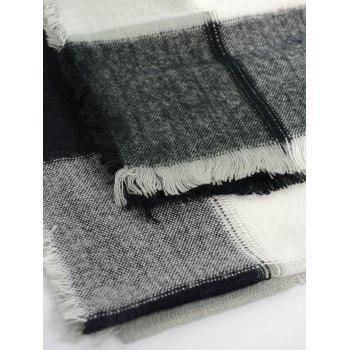 Checked Knitting Broken Hole Design Fringe Brim Scarf - Blanc Noir