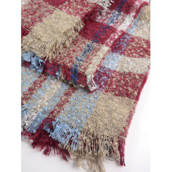 Wide Checked Fringed Brim Wrap Scarf - RED