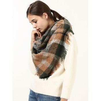 Wide Checked Fringed Brim Wrap Scarf - GREEN