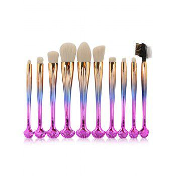 10Pcs Multifunction Gradient Color Shell Design Brushes Set - GRADUAL PINK GRADUAL PINK