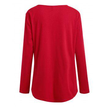 Plus Size Notched Long Sleeve Tee - RED 3XL