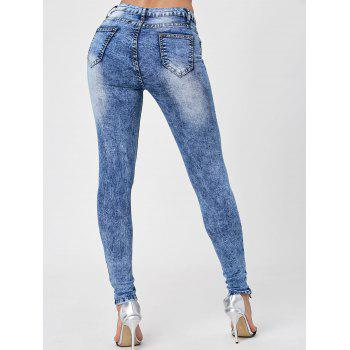 Skiny Ripped Acid Wash Jeans - DENIM BLUE S