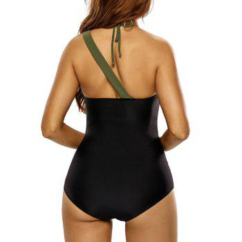 Bandage Panel One Piece Swimsuit - BLACK M
