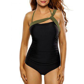 Bandage Panel One Piece Swimsuit - BLACK L