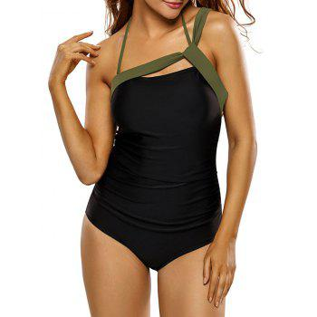 Bandage Panel One Piece Swimsuit - BLACK BLACK