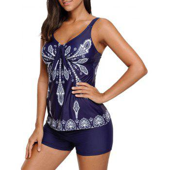 Printed Padded Tankini Set - PURPLISH BLUE L
