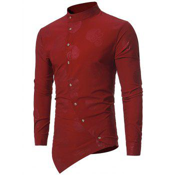 Button Up Mandarin Collar Asymmetrical Paisley Shirt - WINE RED WINE RED