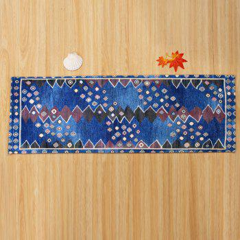 Ethnic Antislip Coral Velvet Bathroom Rug - BLUE BLUE