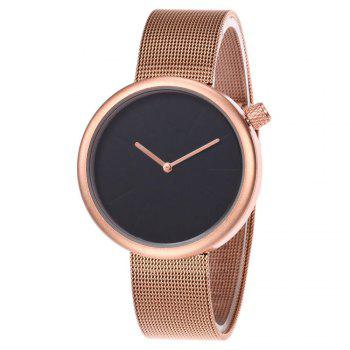 Mesh Strap Round Face Simple Quartz Watch - BLACK/ROSE GOLD