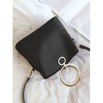 Metal Ring PU Leather Tote Bag -  BLACK