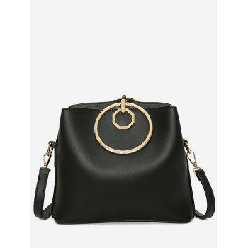 Metal Ring PU Leather Tote Bag - BLACK BLACK