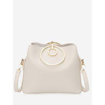 Metal Ring PU Leather Tote Bag - OFF-WHITE OFF WHITE