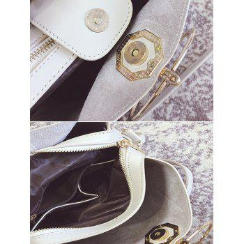 Metal Ring PU Leather Tote Bag -  OFF WHITE