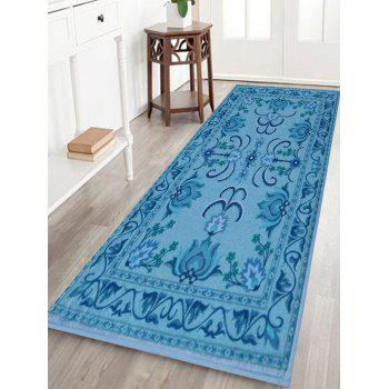 Persian Floral Non Slip Indoor Outdoor Rug Blue W Inch L