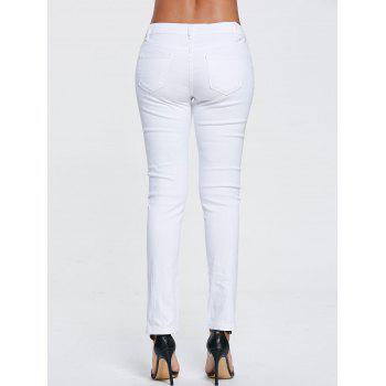 High Waisted Floral Embroidered Skinny Ripped Jeans - WHITE WHITE