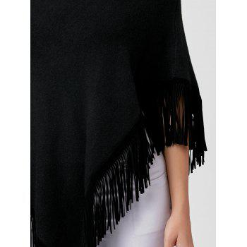 Cowl Neck Fringe Poncho - BLACK ONE SIZE