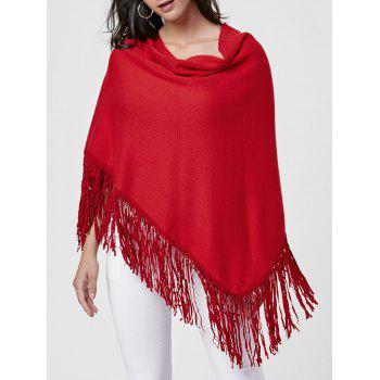 Cowl Neck Fringe Poncho - WINE RED WINE RED