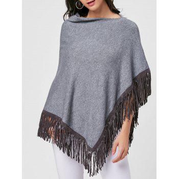 Cowl Neck Fringe Poncho - GRAY ONE SIZE