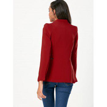 Ruched Zipper Design Tunic Blazer - WINE RED WINE RED