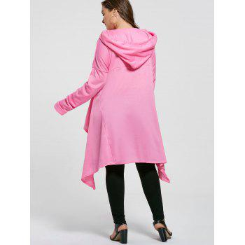 Plus Size Funnel Collar Maxi Asymmetric Hoodie - PINK PINK