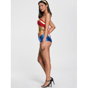 Sequined Women Hero Halloween Costume - COLORMIX 2XL
