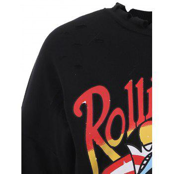 Plus Size Letter Ripped Drop Shoulder Sweatshirt - BLACK 5XL