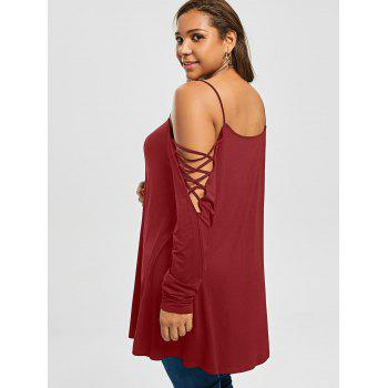 Plus Size Criss Cross Cold Shoulder Long T-shirt - BRIGHT RED 2XL