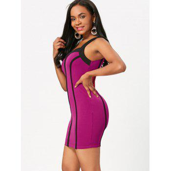 Sleeveless Color Block Club Bodycon Dress - TUTTI FRUTTI M