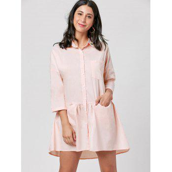 Patch Pocket Mini Shirt Dress - LIGHT PINK LIGHT PINK