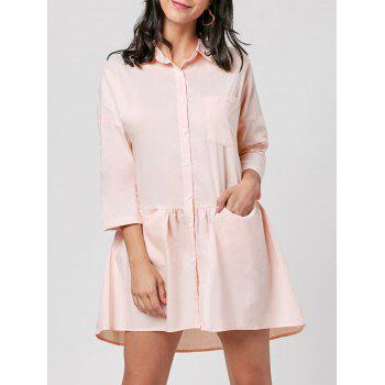 Patch Pocket Mini Shirt Dress - LIGHT PINK 2XL
