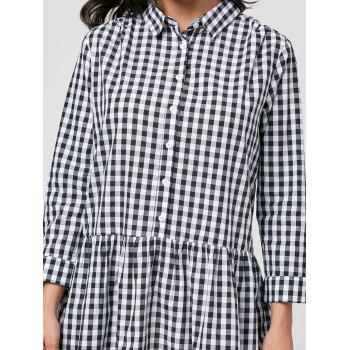 Plaid Long Sleeve Drop Waist Dress - BLACK WHITE BLACK WHITE