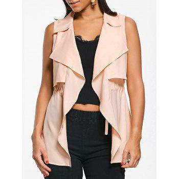 Notched Collar Drawstring Waistcoat - LIGHT APRICOT PINK L