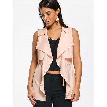 Notched Collar Drawstring Waistcoat - LIGHT APRICOT PINK LIGHT APRICOT PINK