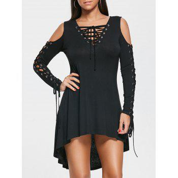 Lace Up Cold Shoulder Tee Dress