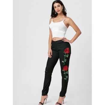 Flower Embroidered Ripped Jeans - BLACK L