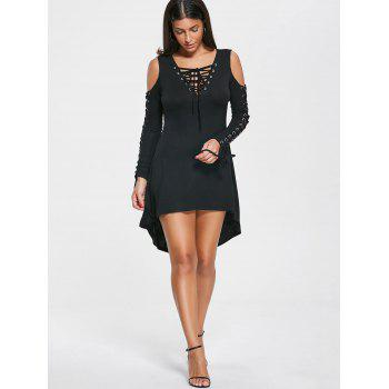 Lace Up Cold Shoulder Tee Dress - BLACK 2XL