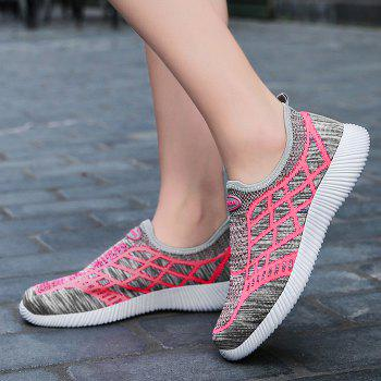 Geometric Pattern Color Block Breathable Athletic Shoes - GRAY GRAY