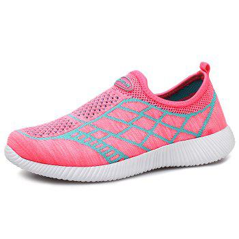 Geometric Pattern Color Block Breathable Athletic Shoes - PINK PINK