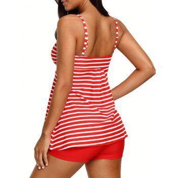 Striped Cami Tankini Set - RED RED