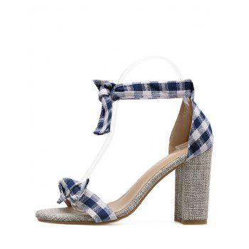 Bowknot Plaid Pattern Sandals - BLUE BLUE