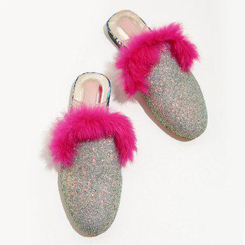 Faux Fur Sequined Mules - SILVER SILVER