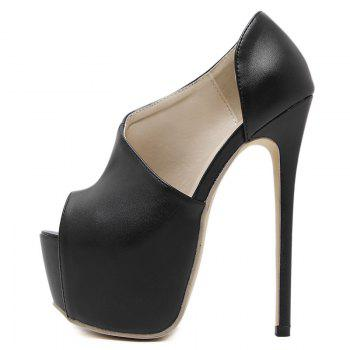 Platform High Heel Peep Toe Shoes - BLACK BLACK