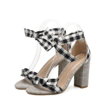 Bowknot Plaid Pattern Sandals - BLACK BLACK