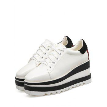 Tie Up Square Toe Wedge Shoes - WHITE WHITE
